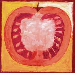 One of the only three known SH Raza paintings of fruits and vegetables.