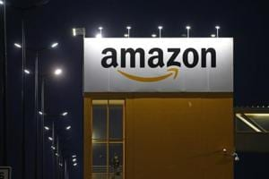 The logo of Amazon is seen at the company logistics center in Lauwin-Planque, northern France.