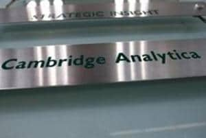 The nameplate of political consultancy, Cambridge Analytica, is seen in central London, Britain.