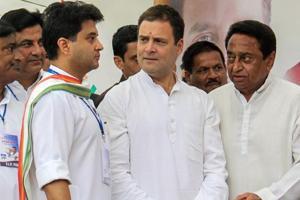 Congress president Rahul Gandhi, MP Jyotiraditya Scindia and state unit president Kamal Nath during a roadshow in Bhopal.