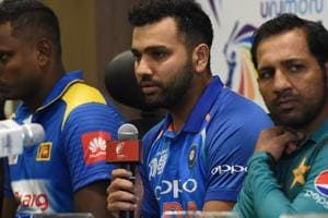 Indian cricket team captain Rohit Sharma (C) speaks during an Asia Cup press conference.