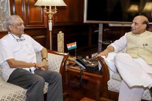 Goa chief minister Manohar Parrikar with Union home ninister Rajnath Singh in New Delhi in August  2018.