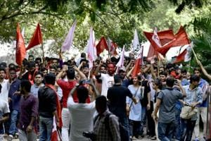 Supporters of United Left celebrate after their success in Jawaharlal Nehru University Student Union (JNUSU) elections, at Jawaharlal Nehru University, in New Delhi, India, on Sunday, September 16, 2018.
