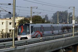 Airport Express Metro Line opened today for public in New Delhi, India 22 January 2013.