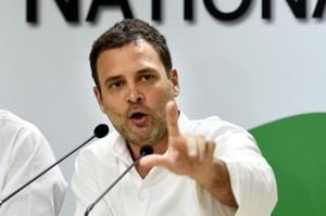 Congress president Rahul Gandhi speaks during a press conference at AICC headquarters in New Delhi.