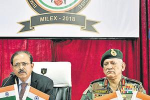Subhash Bhamare, minister of state for defence (left) and Chief of Army Staff General Bipin Rawat at the Bimstec Milex closing ceremony in Aundh, Pune, on Sunday.