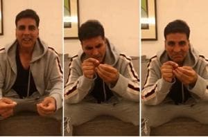 Akshay Kumar tries his hand at thread the needle challenge, accepts defeat.