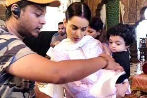May 10-month-old Prithvi Raj was showing Queen Kangana Ranaut  how to really work at Manikarnika sets. (Instagram)