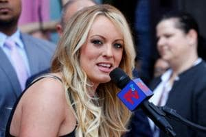 Stormy Daniels, the porn star currently in legal battles with US President Donald Trump, speaks during a ceremony in her honour in West Hollywood, California.