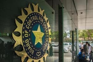 A view of logo of the Board of Control for Cricket in India (BCCI) during a Council meeting of the Indian Premier League (IPL) at BCCI headquarters on July 19, 2015 in Mumbai, India.
