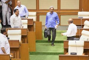 Goa chief minister Manohar Parrikar arrives at the legislative Assembly in Panaji.