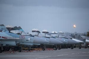 Russian fighter jets at Hemeimeem air base in Syria. A Russian military jet carrying 14 servicemen vanished from radar over the  Mediterranean Sea late Monday as Syria came under attack by Israeli missiles, the defence ministry said.