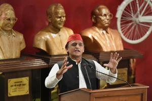 Samajwadi Party President Akhilesh Yadav addresses a press conference at the party office, in Lucknow.