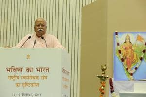 """RSS chief Mohan Bhagwat was speaking at the event """"Future of Bharat: An RSS perspective"""" at Vigyan Bhavan in New Delhi."""