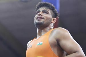 Sajan Bhanwal in action at the World Junior Wrestling Championship