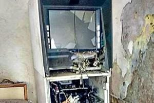 The ATM that was blown up at Nagina in Nuh.