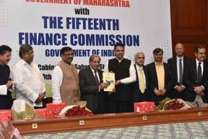 CM Devendra Fadnavis with the members of the 15th Finance Commission on Wednesday.