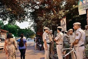 Heavy security was deployed at the university's three gates to prevent the entry of outsiders.