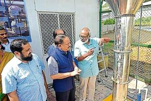 Union minister Harsh Vardhan after inaugurating the plant at Sun Dial Park, Sarai Kale Khan, on Tuesday.