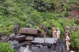 The private truck, hired by the BSF, rolled down into a 150-feet-deep gorge when the driver lost control over the vehicle.