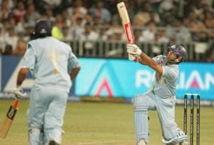 Yuvraj Singh hits six sixes off Stuart Broad of England in one over for his 58 runs off 16 balls during the ICC Twenty20 Cricket World Cup in 2007.