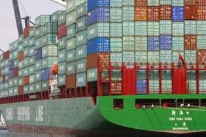 Cargo stacked on a China Shipping Line freighter at Miami Beach. For officials in Beijing, the worry about Donald Trump's latest tariffs isn't the impact on trade: Rather it's the steady march toward a long-term competition that could thwart China's rise.