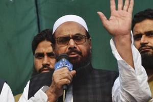 Pakistani head of the Jamaat-ud-Dawa (JuD) organisation Hafiz Saeed addresses during a protest rally in Lahore on April 6.