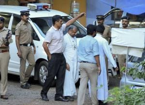 Bishop Franco Mulakkal, accused of raping a nun, leaves after questioning before the special investigation team of the Kerala police, in Tripunithura, Wednesday, Sept 19, 2018.