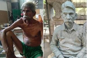 Art model Jagdish Prasad posing for students; (right) his sculpture at the Government College of Art, Sector 10, Chandigarh.