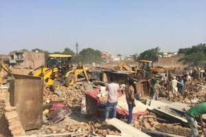 The demolition was carried out over 4.5 acres amid strong protests by shop owners, who resisted the action by HSVP team led by sub-divisional officer Hari Singh Jakhar.