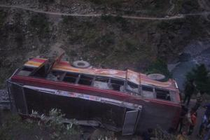 The bus on its way from Palampur to Chhatrari skidded off the road around 30km from Chamba town late on Wednesday.