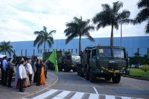MoS (defence) Subhash Bhamre flags off indigenously designed, built defence systems at L&T Talegaon complex near Pune.