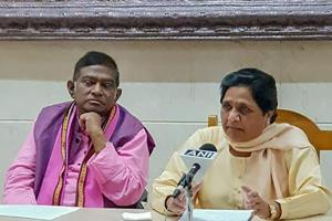 BSP supremo Mayawati and Janata Congress (Chhatisgarh) president Ajit Jogi during a press conference to annouce their alliance for assembly polls in Chhatisgarh, in Lucknow on Thursday.