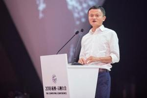 Alibaba founder Jack Ma delivering a speech during the 2018 Computing Conference in Hangzhou in China