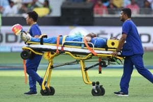 India cricketer Hardik Pandya is carried off the field on a stretcher after getting injured at the Dubai International Cricket Stadium on Wednesday.