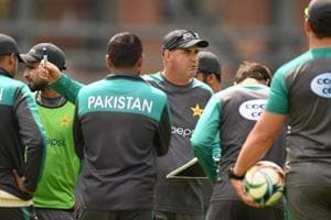 File photo of Pakistan coach Mickey Arthur speaking to his team during a net session.