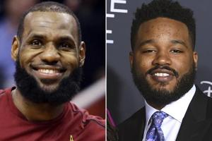 This combination photo shows Cleveland Cavaliers forward LeBron James and filmmaker Ryan Coogler.