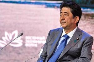 Japanese Prime Minister Shinzo Abe attends a session of the Eastern Economic Forum in Vladivostok, Russia September 12.