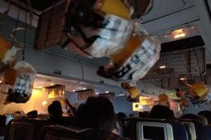 Oxygen masks are seen deployed after a loss of cabin pressure, on a Jet Airways flight, from Mumbai, India September 20, 2018 in this still image obtained from social media.