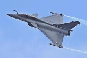 A Rafale fighter aircraft during AERO INDIA 2017 at Yelahanka Air base in Bengaluru.