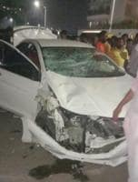 The car that lost control and hit three bystanders in front of Radisson hotel in Kharadi on Ahmednagar road on Wednesday.