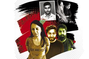 (Clockwise from the top) Victim Dushyant Sharma; his wife Bittu Sharma with the couple's one-and-a-half-year-old son (photo by Himanshu Vyas/HT); and the three accused in the murder case (left to right) – Priya Seth, Dikshant Kamra and Lakshya Wallia.
