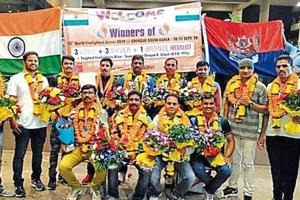 The Mumbai firemen's team that won seven medals for the Indian contingent at the 13th World Firefighters Games.