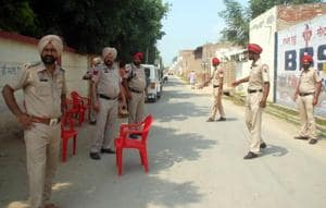 Security personnel deployed outside polling station in Dayalpura Mirza village n Bathinda during re - polling at booth for zila parishad and block samiti elections.