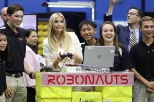 White House Senior Advisor Ivanka Trump meets with local high school students involved in robotics competitions during a tour of the Johnson Space Center in Houston, Texas, U.S. September 20, 2018.