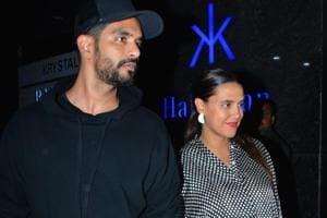 Neha Dhupia along with her husband Angad Bedi seen at Mumbai