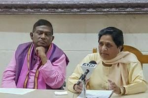 BSP supremo Mayawati and Janata Congress (Chhatisgarh) president Ajit Jogi during a press conference in Lucknow on Thursday.