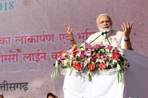 PMNarendra Modi addressing a public rally in Chhattisgarh on Saturday.