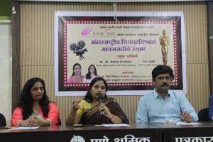 (From left) Sunanda Kaluskar, member of Divine Cause; Priti Victor, founder of Divine Cause, and Megharaj Rajebhosale, president of Akhil Bharatiya Marathi Chitrapat Mahamandal.