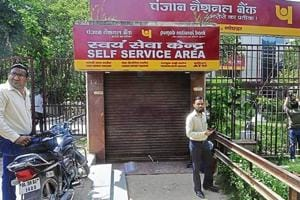 The bank where the two guards were murdered in Noida's Sector 1 on Friday morning.